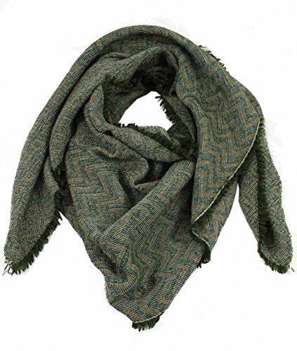 Preisvergleich Produktbild Schal Webschal Zick Zack modisch grün 100% Wolle (Merino)R-644