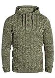 !Solid Pierre Herren Strickpullover Kapuzenpullover Grobstrick Pullover Mit Kapuze Aus 100% Baumwolle, Größe:L, Farbe:Ivy Green (3797)