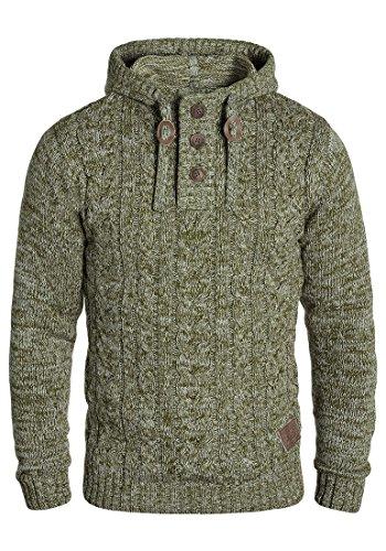 SOLID Pierre Herren Kapuzenpullover Strickhoodie aus 100% Baumwolle Meliert, Größe:M, Farbe:Ivy Green (3797)