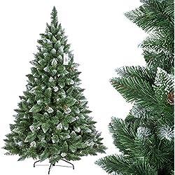 FairyTrees Árbol de Navidad artificial Pino, natural de blanco Nevado, material PVC, verdadera Piñas, incluye soporte de metal, 180cm, ft04–180