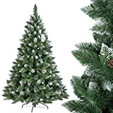 FairyTrees Albero di Natale Artificiale Pino, innevato Bianco Naturale, Materiale PVC, Vere pigne, incl. Supporto in Metallo, 180cm