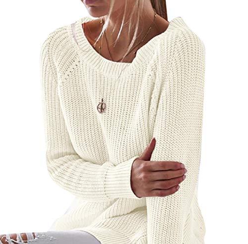 CuteRose Womens Leisure Crewneck Soft Plush Split Knitwear Sweater Blouse White XS -