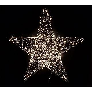 Deko Weihnachts Stern mit 80 warmweißen LEDs - 38x38 cm - Weihnachtsdeko Innen Außen zum Aufhängen