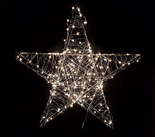 Deko Weihnachts Stern mit 120 warmweißen LEDs - 58x58 cm - Weihnachtsdeko Innen Außen zum Aufhängen