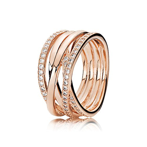 Pandora Damen-Bandring Silber_vergoldet mit \'- Ringgröße 56 (17.8) 180919CZ-56