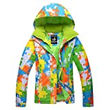Colorful Printed Outdoor Ski Jacket for Women, Windproof Winter Coat Snowboard Ski Suit Snowear Mountain Jacket Waterproof Shell -Green XXL