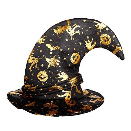 TENDYCOCO Zauberer Hüte Spinnennetz Muster Hexe Hut mit Schnalle Partyhut Halloween Kostüm Prop für Kinder Erwachsene