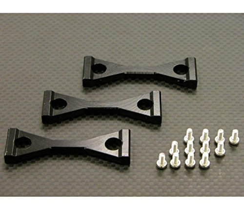 Tamiya 1/14 Truck Upgrade Pièces Aluminium Middle Chassis Mount With Screws (For King Haule /Globe Liner /Ford Aeromax) - 3Pcs Set Black