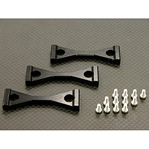 Tamiya 1/14 Truck Aggiornamento Parti Aluminium Middle Chassis Mount With Screws (For King Haule /Globe Liner /Ford Aeromax) - 3Pcs Set Black