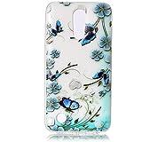Für LG K10 2017 Hülle , YIGA Mode blau Schmetterling blume Transparent TPU Weich Tasche Fall Schutzhülle Silikon Handyhülle Schale Schutz Telefonkasten HandyFall Case für LG K10 2017