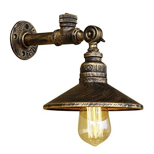 Fuloon Lampada da Parete Retro Vintage Tubo dell'acqua Ferro Industriale (Rame 1)