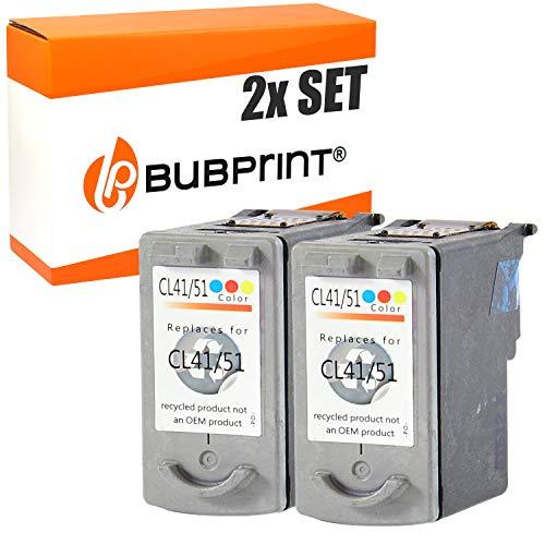 Bubprint 2 Druckerpatronen kompatibel für Canon CL-41 CL 41 CL41 für Pixma IP1200 IP1600 IP2200 IP2600 MP140 MP150 MP160 MP170 MP180 MP190 MP210 Color - 1600 Inkjet
