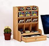Catekro Boîte de rangement de bureau grande capacité, fournitures de bureau multifonction papeterie boîte de rangement porte-stylo en bois massif support de rangement pour débris Étagère