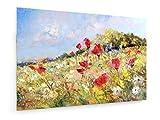 Rote Mohnblumen und Margeriten auf einer Sommerwiese - 45x30 cm - Textil-Leinwandbild auf Keilrahmen - Wand-Bild - Kunst, Gemälde, Foto, Bild auf Leinwand - Blumen