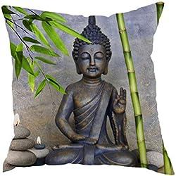 casyva 45x 45cm funda de almohada de 40x 40cm con Europa Estilo Impreso Buda manta decorativa Funda de almohada con patrón de bambú, Style 3, 40 x 40 cm