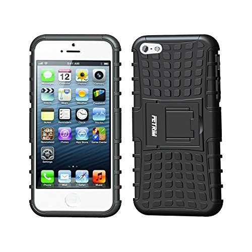 Custodia iPhone 5S ,Fetrim Cover iPhone 5 , supporto anti urto Super Protettiva Case, TPU silicone + Plastica portafoglio Absorption Bumper Rugged armatura ultra sottile protezione Copertura Cassa She Nero