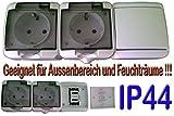 2 Steckdosen +SCHALTER Feuchtschutz IP44 Feuchträure Aufputz Steckdose Mehrfachs-Fach Steckdose IP44 16A/250V Schuko Aufputzsteckdose Feuchtraum Steckdose