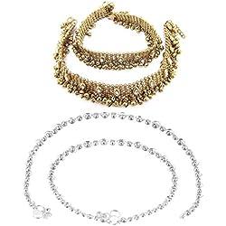 Charms 2 Pair of Golden/Silver Alloy Kundan Anklet For Women & Girls