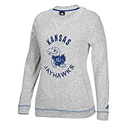 NCAA Kansas Jayhawks Womens Campus Slouchy Crew Top, XX-Large, Grey