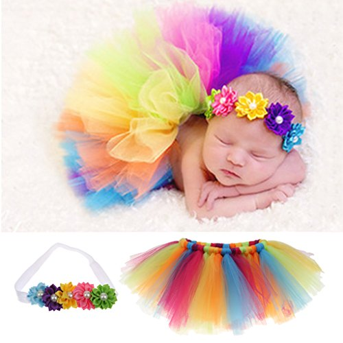 Aspiredeal Newborn Baby Photography Prop Girs Headband+Rainbow Tutu Skirt Costume Set