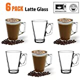 ANSIO® Latte Coffee Glass Cups - 235ml (8oz) - Gift Box of 6 Latte Glasses - Perfect Gi... Best Review Guide