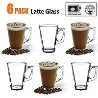 ANSIO® Latte Coffee Glass Cups - 235ml (8oz) - Gift Box of 6 Latte Glasses - Perfect Gi...