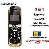 LONG CZ T3 le plus petit téléphone 3 en 1 le plus long mini téléphone de veille + Bluetooth Dialer + Ecouteur 99.99% téléphone cadeau en plastique Strong Signal Voice Changer magic Son 23gram (Golden)