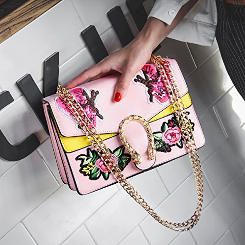 frauen-art und weisehandtaschen-schulter-diagonalpaket Gestickter Schmetterling kleiner quadratischer Beutel Rosa