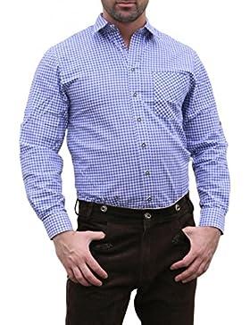 Trachtenhemd für Trachten Lederhosen wiesn Blau/kariert