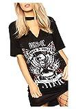 Islander Fashions Womens Born to Be Rock N Roll painettu Choker kaulan lyhythihainen Halloween T-paita musta pieni/keskisuuri