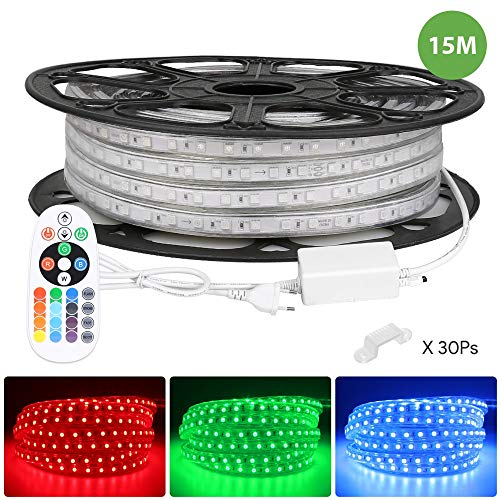15M RGB 230V LED-Streifenlichter mit 900 5050 SMD-LEDs, Dimmbar, Mehrfarbig und Wasserdicht IP65 für Außenbeleuchtung und für Weihnachten, Party und Hochzeit dekorieren