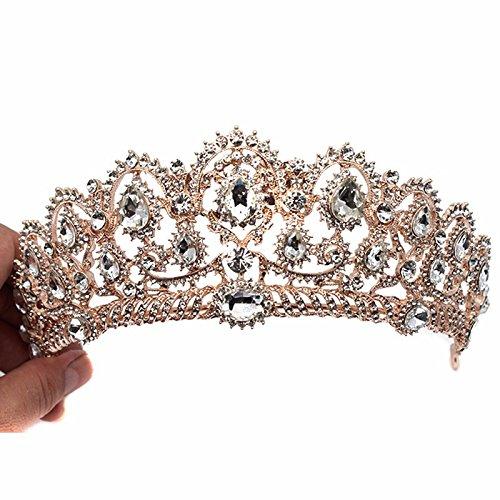 Pnizun Baroque RšŠtro Vintage Cristal AB MarišŠe Accessoires Cheveux Brides Mariage Bijoux de Cheveux Strass Pageant Robe Studio Tiara Couronne [Or Rose]