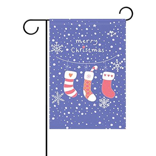 Duble Sided Weihnachten Grußkarte Geschenk mit Strümpfe Happy Winter Snowfall Polyester HAUS/Garten Flagge Banner 12x 18/71,1x 101,6cm für Hochzeit Party alle Wetter, Polyester, violett, 28x40 -