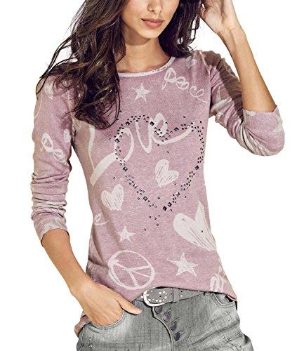 Yidarton Bluse Damen Langarmshit Herbst Winter Pullover Gedruckte Oberteil Hemd Herz Casual Loose T-Shirt Sweatshirt Tops (Rosa, S) (Rosa Herz-shirt)