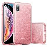ESR Coque iPhone XS Max 2018 Rose, Coque Silicone Paillette Strass Brillante Bling Bling Glitter de Luxe pour Apple iPhone XS Max (2018) 6,5 Pouces (Série Glamour, Or Rose Pailleté)