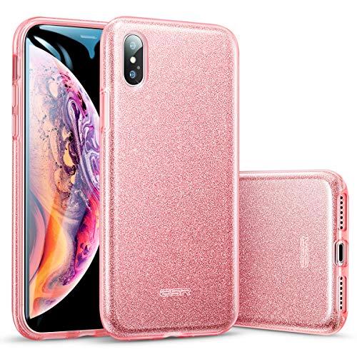 ESR Cover per iPhone XS Max 2018, Custodia con Glitter Bling Scintillante Brillantini [Tre Strati] per Donna [Supporta la Ricarica Wireless] per Apple iPhone XS Max (Oro Rosa)