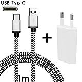 Original COVERLOUNGE - Nylon USB Typ C Ladegerät / Kabel / Datenkabel / Ladekabel [2.1 A] mit Netzstecker / Netzteil [1 A] für alle Samsung Smartphones mit USB Typ C Anschluss | Farbe: Weiß / Silber | Länge: 1 Meter / 1m