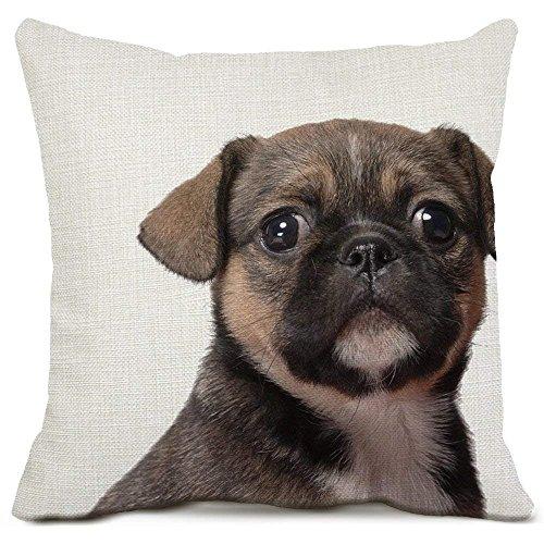 Mops Hund dekorative Wurfkissenbezüge Baumwolle Leinen Platz Kissenbezüge Tier Welpen Kissenbezüge für Sofa Couch Home Decor 18 x 18 Zoll Super Stich Mop