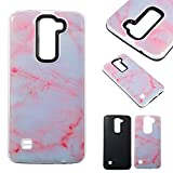 LG K7 Cases, Cozy Hut® 2 in1 Hybrid Case Cover for LG K8, Hard Cover for LG K7 / K8 Marble Printed Design PC+ Silicone Hybrid High Impact Defender Case Combo Hard Soft Cases Covers Anti Shatter, Anti-Scratch, Anti-Fingerprint for LG K7 / K8 - Pink white marble