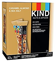 KIND Caramel Almond & Sea Salt - Gluten Free - Healthy Snack Bar - 12x 40g bar
