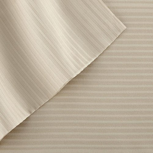 Pacific Coast Textilien T400 Tencel Pin Stripe-Bettlaken-Set, Baumwolle, Hellbraun, King, 4-teilig -