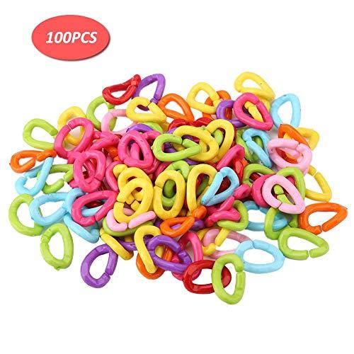 Zerodis 100 Stück mehrfarbige Ringe Haken C-Clips Kunststoffkettenglieder Kunststoff Kinderwagenkette für Kinder Papagei Vogelspielzeug