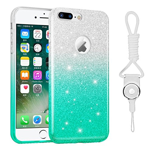iphone 7 plus case, Hanlesi lucida copertura [bling chiarissimo] [slim fit] 3 strato ibrido con brio premio trasparente tpu custodia per apple iphone 7 Plus 5,5 Inch blu chiaro