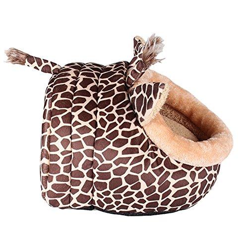 MAGIC UNION Hundehöhle Hundehöhle Tierbett Hundebett Hundesofa Korbmit Schlafplätze Kissen für Pet Hund Katze Haustier in Tiere Braun Giraffe und 3 Größen(S/M/L) wählbar - 2