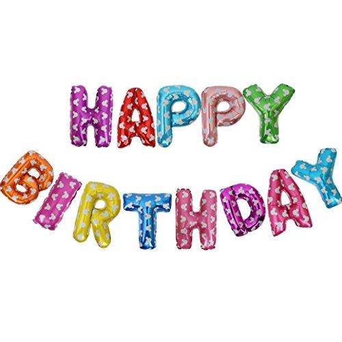 (Cloom Geburtstag Party Dekorationen Kits Happy Birthday Brief Ballons Banner monatliche Geburtstag Party Ballons für Baby Ersten Geburtstag Brief Folienballons Latex Ballons Rosa Weiss Blau (F))