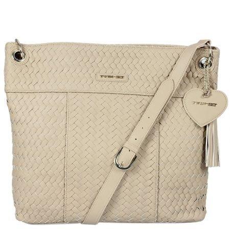 TWIN SET by SIMONA BARBERI AZS4HQ L - borsa a spalla donna shopping sacca intrecciata - tufo