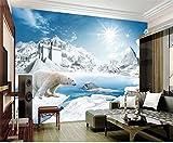 Tapete 3D Fototapete Benutzerdefinierte Größe Wandbild Wohnzimmer Eisbär See Schnee Szene 3D Bild Sofa Tv Hintergrund Wand Silk tuch aufkleber 3D 300X210cm