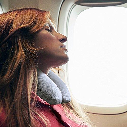 Nackenkissen Aufblasbares [Bonus inklusive] IZUKU® egornormisches nackenhörnchen perfekt für Reisen Büro und Haus Weiche und Angenehme Reisenkissen mit Extra-geschenk - 7