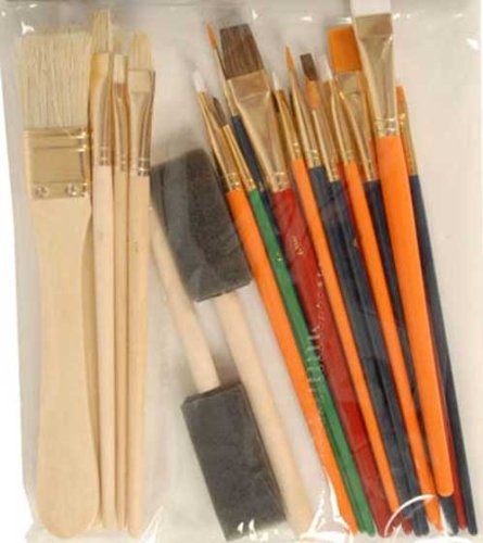Pinselset 25 Teile Holzstiel, Maler Schriften Schreib Flach Kapsel Pinsel Bürste (LHS) (Sonne-kapsel)