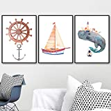 Yyoutop Frameless Casco dell'acquerello Balena Barca a Vela Poster murale Pittura Poster e Stampa Nordic Poster Astratto Muro Foto Bambini